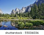 rocky monoliths are reflected... | Shutterstock . vector #55036036