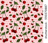 pattern with red cherries and...   Shutterstock .eps vector #550370887