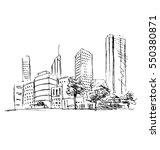 hand sketch town. vector... | Shutterstock .eps vector #550380871