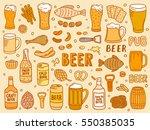 hand drawn beer doodles | Shutterstock .eps vector #550385035