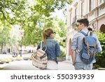 rear view of young college... | Shutterstock . vector #550393939