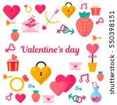 valentines day set illustration | Shutterstock .eps vector #550398151