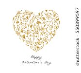 golden texture ornate heart.... | Shutterstock .eps vector #550399597