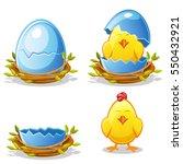cartoon funny chicken and blue... | Shutterstock .eps vector #550432921