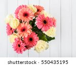 Pink Gerbera Daisy Flowers And...