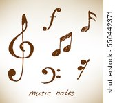 Hand Drawn Music Notes. Vector...
