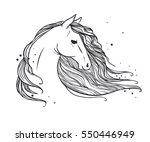 horse's head with long wavy... | Shutterstock .eps vector #550446949
