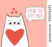 cute cat with heart and speech... | Shutterstock .eps vector #550456255