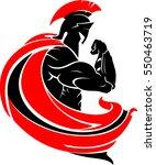 spartan side pose illustration | Shutterstock .eps vector #550463719
