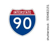 interstate highway 90 road sign | Shutterstock .eps vector #550482151