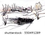 winter landscape with trees... | Shutterstock . vector #550491289