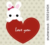 cute card love you with red... | Shutterstock .eps vector #550514434