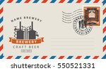 an envelope with a postage... | Shutterstock .eps vector #550521331
