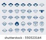 big vector set of monkey icons... | Shutterstock .eps vector #550523164