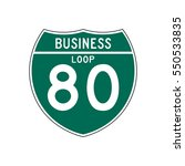business loop interstate 80 sign | Shutterstock .eps vector #550533835