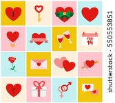 set of valentine's and wedding... | Shutterstock .eps vector #550553851