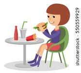 girl eating fast food. vector... | Shutterstock .eps vector #550559929