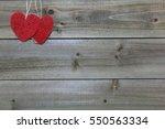 Burlap Heart Shapes On Wood...