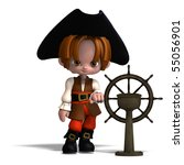 sweet and funny cartoon pirate... | Shutterstock . vector #55056901