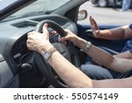 senior learning to drive a car... | Shutterstock . vector #550574149