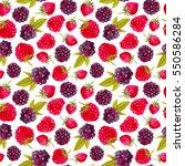 raspberries and strawberries....   Shutterstock . vector #550586284