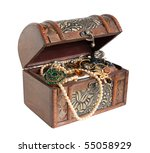 Wooden Treasure Chest With...