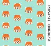 cute red panda on blue... | Shutterstock .eps vector #550593829