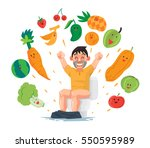 man sit at the toilet with... | Shutterstock .eps vector #550595989