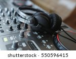 dj mixer with headphones.... | Shutterstock . vector #550596415