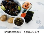 food rich of iodine. natural... | Shutterstock . vector #550602175