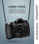 hanging realistic photo camera. ...   Shutterstock .eps vector #550602997