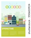 hello spring cityscape... | Shutterstock .eps vector #550603924