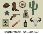 western icons    wild west set... | Shutterstock .eps vector #550605667