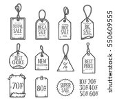 hand drawn sales tags doodle... | Shutterstock .eps vector #550609555