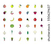 colorful set fruits and... | Shutterstock .eps vector #550629637