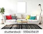 mock up posters in living room... | Shutterstock . vector #550635619
