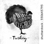 poster turkey cutting scheme...   Shutterstock . vector #550645795