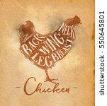 poster chicken cutting scheme...   Shutterstock . vector #550645801
