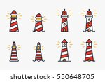 striped lighthouse beacon... | Shutterstock .eps vector #550648705