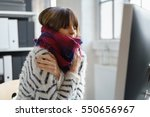 sick businesswoman with winter... | Shutterstock . vector #550656967