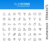 Minimalistic Slim Line Camping & Outdoor Vector Icons | Shutterstock vector #550661671