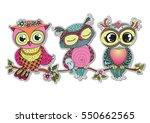 three cute colorful cartoon... | Shutterstock .eps vector #550662565