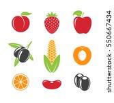 fresh fruit and vegetables on... | Shutterstock .eps vector #550667434
