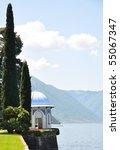 Park of Villa Melzi at the lake Como, Italy - stock photo