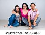 three friends sitting on floor... | Shutterstock . vector #55068088