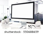 mock up devices in interior. 3d ... | Shutterstock . vector #550688659