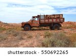 abandoned mining dump truck in...