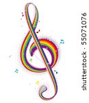 Rainbow Colored G Clef - Vector - stock vector