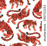 seamless pattern with painted... | Shutterstock . vector #550712251