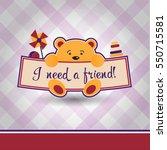 card design with a cute little... | Shutterstock .eps vector #550715581